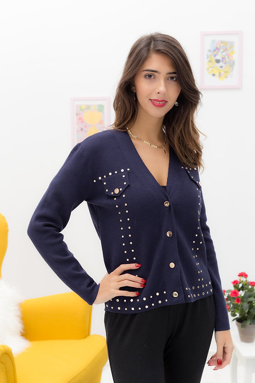 Gold Mirror Stud Cardigan | One Size