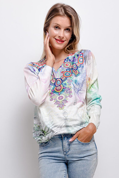 LIMITED EDITION Fine Knit V-Neck Sweater With Crystal Embellishment Deta