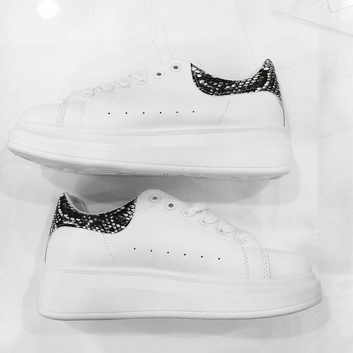 McQueen Inspired Snake Print White Lace Up Trainers