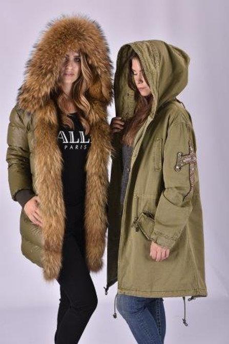 Miss Furs Khaki Embellished Fur Parka Coat