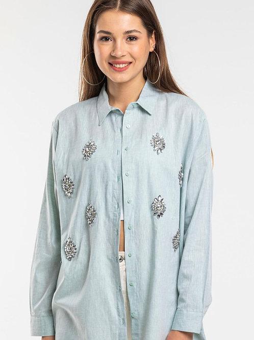 mint crystal embellished shirt