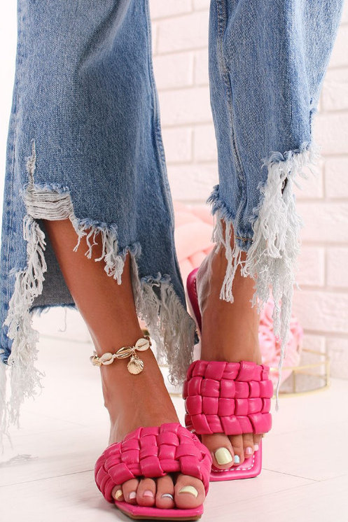 Fuchsia Pink Flat Sandals