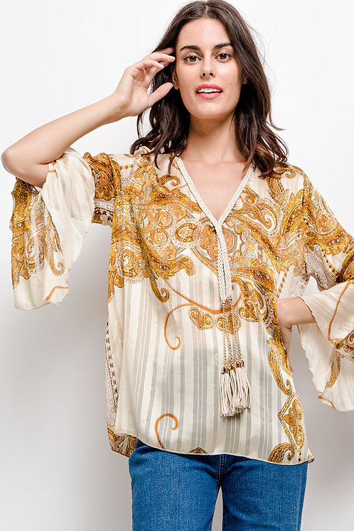 Printed Lightweight Blouse with Tassels