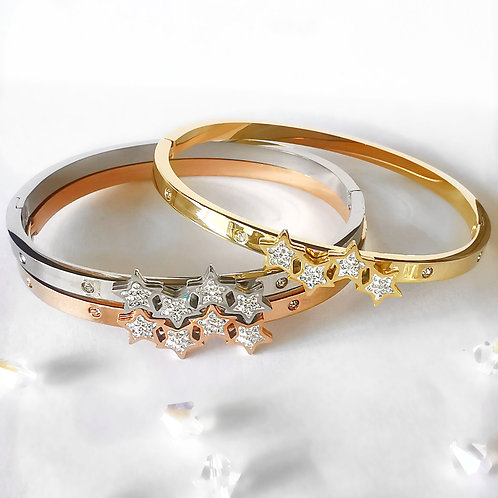 Star & Crystal Stainless Steel Bangle | Rose Gold, Gold or Silver