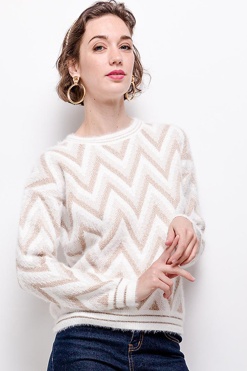 Soft Metallic Zig Zag Jumper | Pink or White