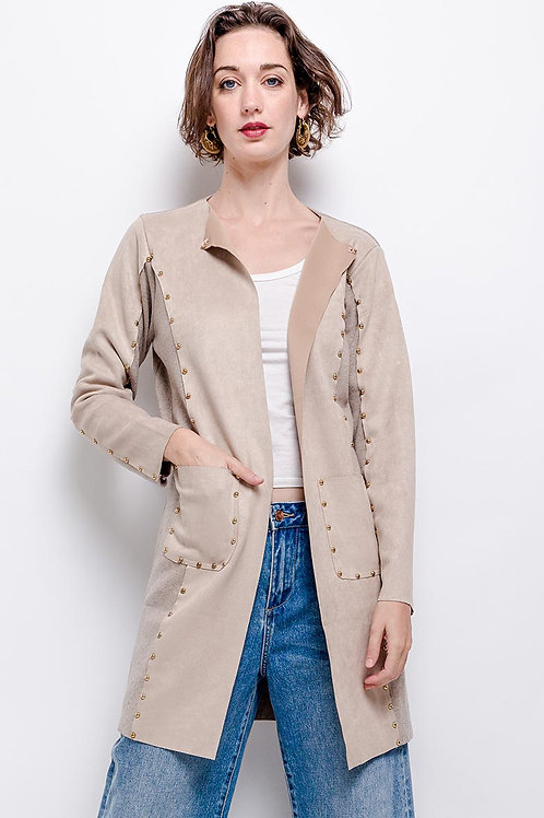 Longline Stud Embellished Suede/Knitted Bi-Material Cardigan | S/M or M/L