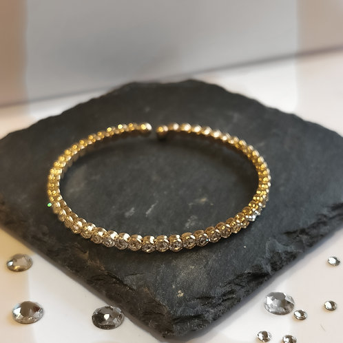 Crystal Expandable Bangle | Gold