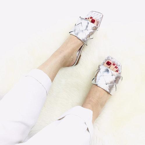 Silver Woven Flat Sandals