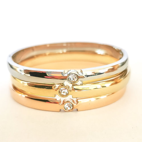 Single Stone Crystal Stainless Steel Bangle   Rose Gold, Gold or Silver