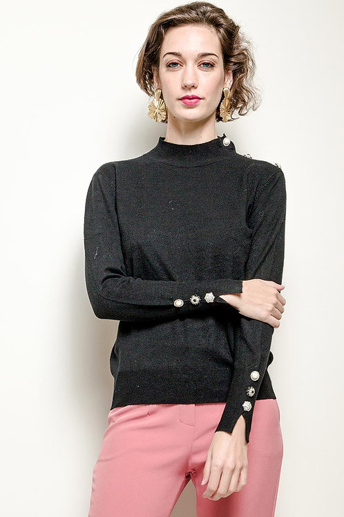 Turtleneck Jumper with Fancy Button Embellishment | S/M or M/L