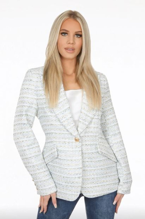 Tweed Single Button Blazer | Baby Blue & Gold