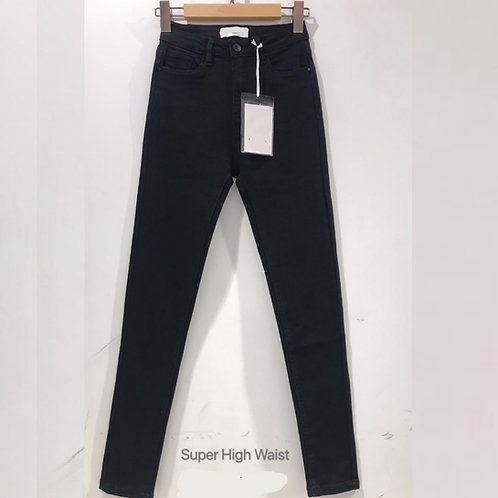 Queen Hearts Black Denim Super High Waist Jeans