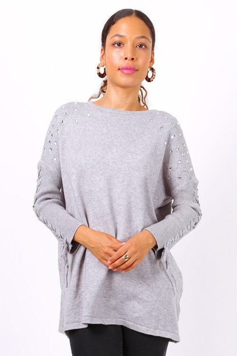 Oversized Jumper with Crystal & Lace-Up Detail | One Size