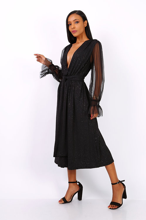 Black Belted Dress with Glitter Fabric & Sheer Sleeves