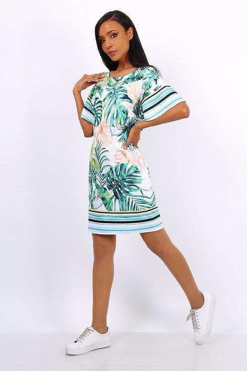 tropical print tshirt dress