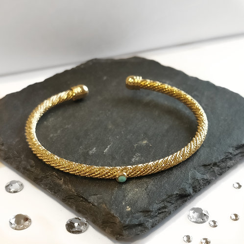 Turquoise Stone Bangle | Gold