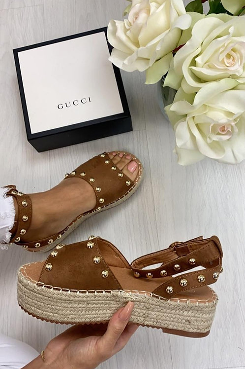 Camel Gold Studded Flatforms