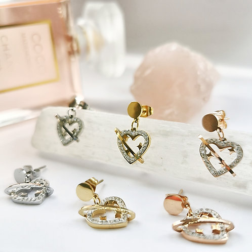 Stainless Steel & Crystal Heart and Star Earrings | Gold, Silver or Rose Gold