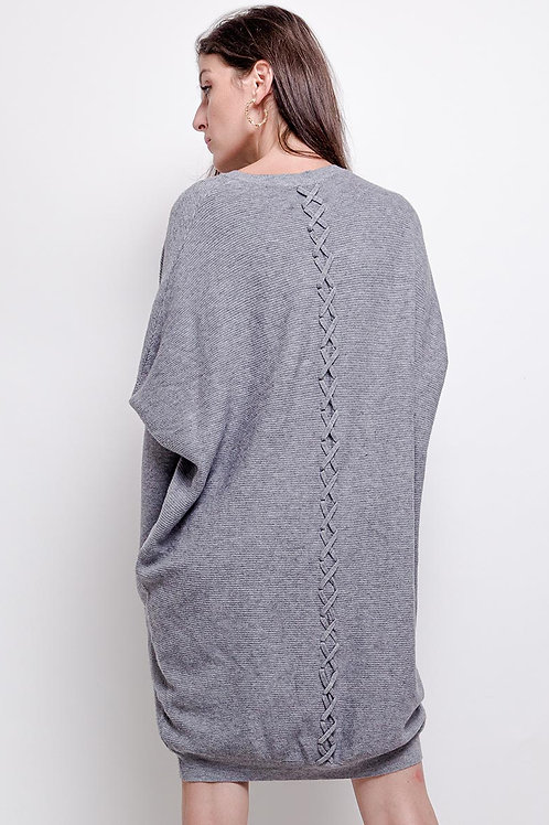 Round Neck Oversized Jumper with Cross Stitch Back Detail | One Size