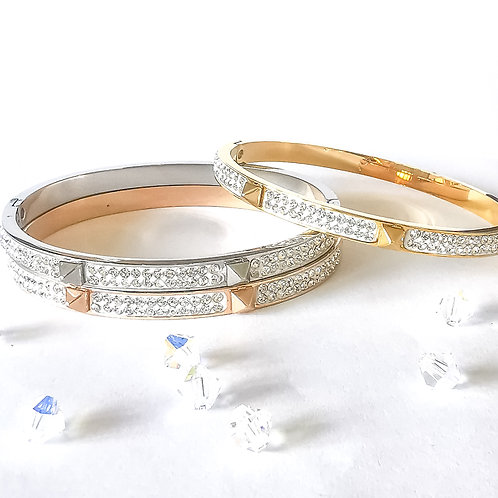 Stud Spike & Crystal Stainless Steel Bangle | Rose Gold, Gold or Silver