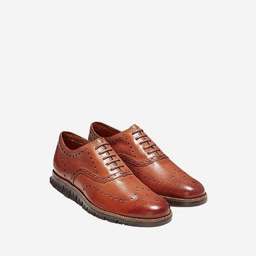 Men's ZERØGRAND Wingtip Oxford Leather British Tan