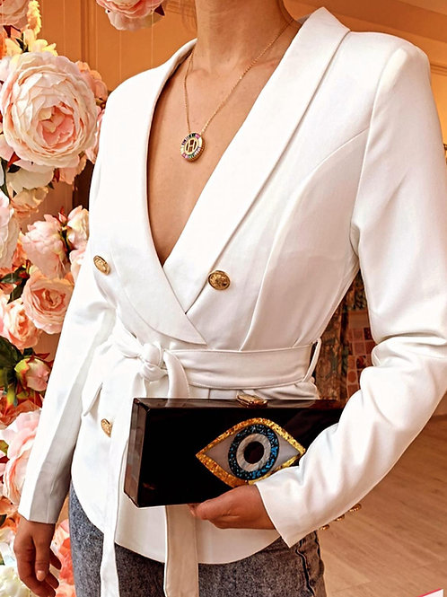 White Double Breasted Blazer with Gold Button Detail & Belt