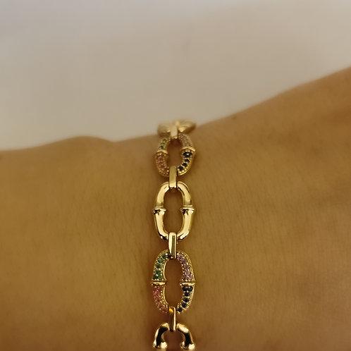 Multicolour Crystal Chunky Reversible Chain Bracelet | Gold