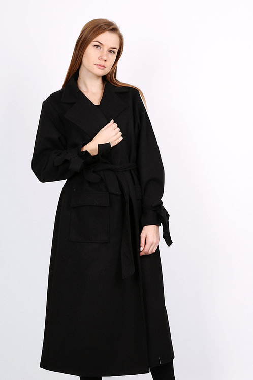 Black Wrap Coat | Made In Italy | S/M or M/L