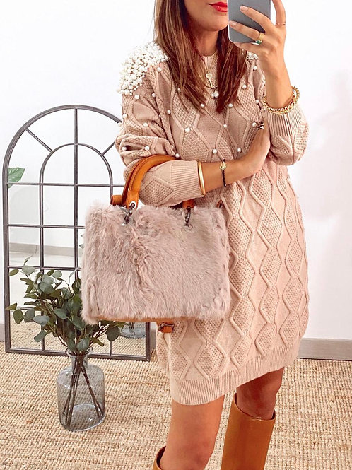 Pearl Embellished Jumper Dress | Beige