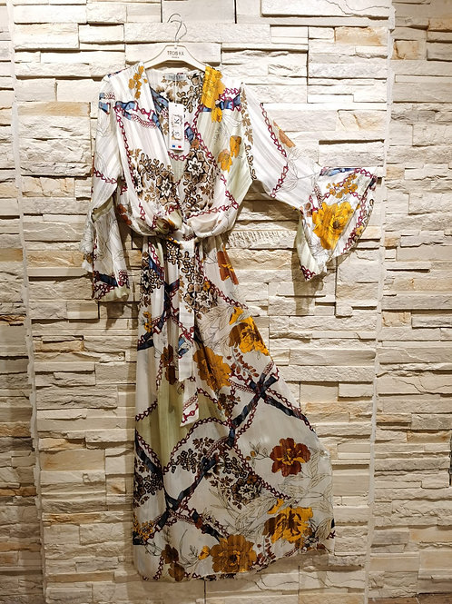 Printed Flared Sleeve Summer Maxi Dress with Belt