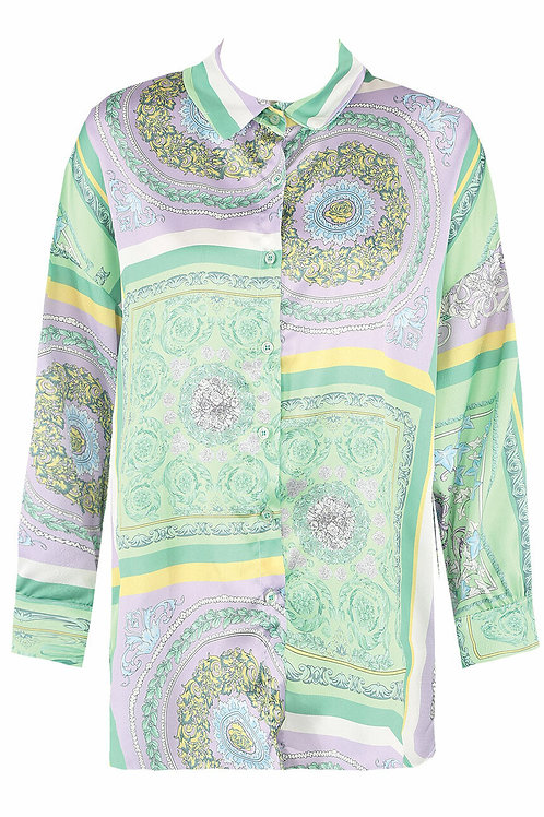 Baroque Oversized Print Shirt in Green Multicolour