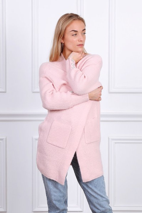pink cardigan with crystal buttons