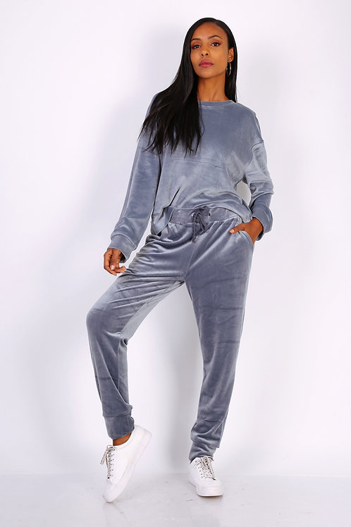 Velour Feel Grey Loungewear Set | S to XXL
