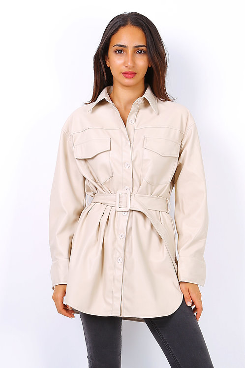 Leather Look Belted Shirt | S/M or L/XL