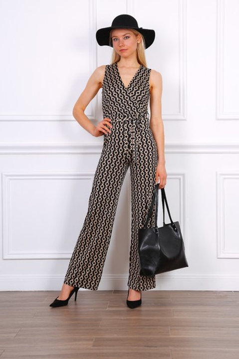 Chain Print Stretch Jumpsuit in Camel & Black| S, M or L