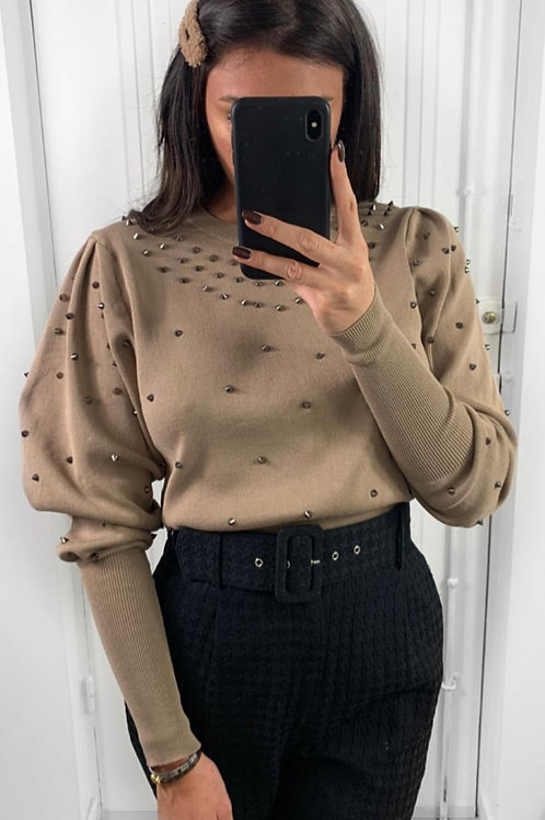 Puff Sleeve Stud Round Neck Jumper | Black, Camel or Grey | One Size