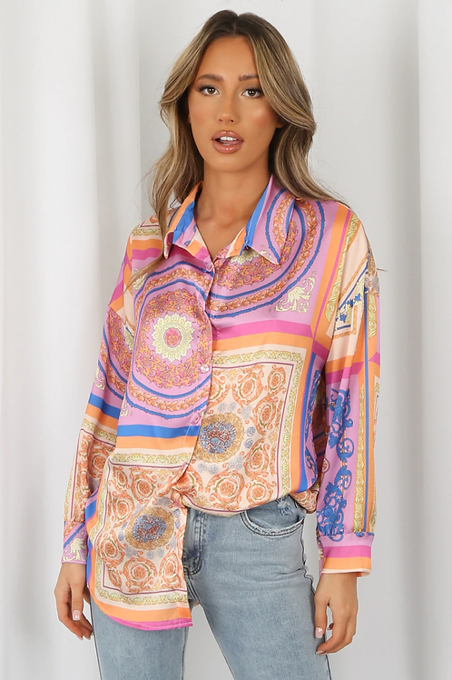 Baroque Oversized Print Shirt in Pink Multicolour