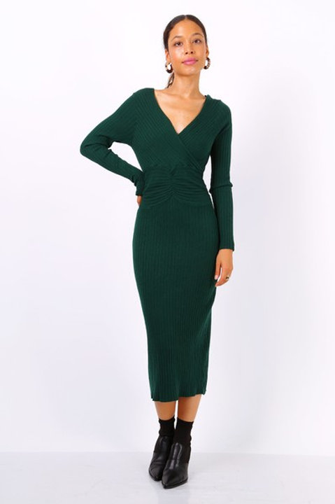 Knitted Wrap Midi Dress | One Size