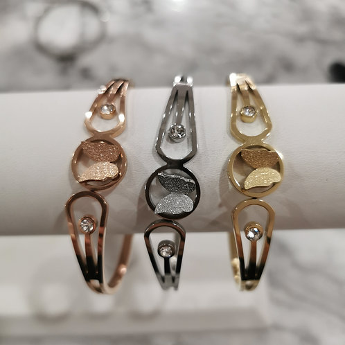 Stainless Steel Crystal & Butterfly Bangle | Gold, Rose or Yellow Gold