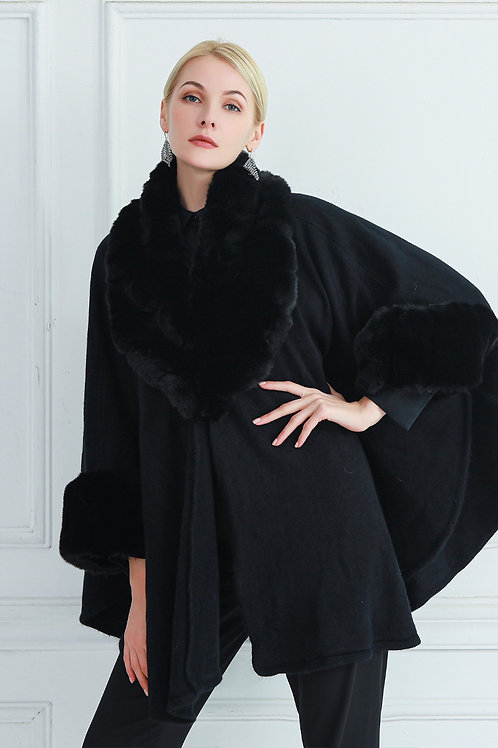 Black Faux Fur Wrap Coat | One Size