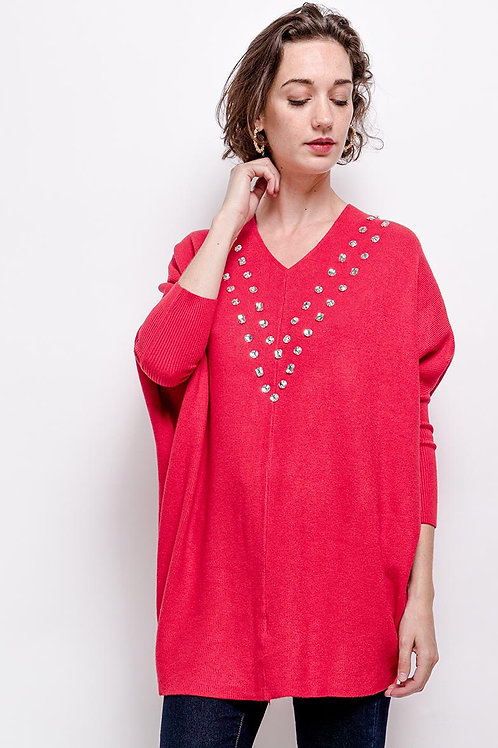 V-Neck Jumper with Crystal Detail | One Size
