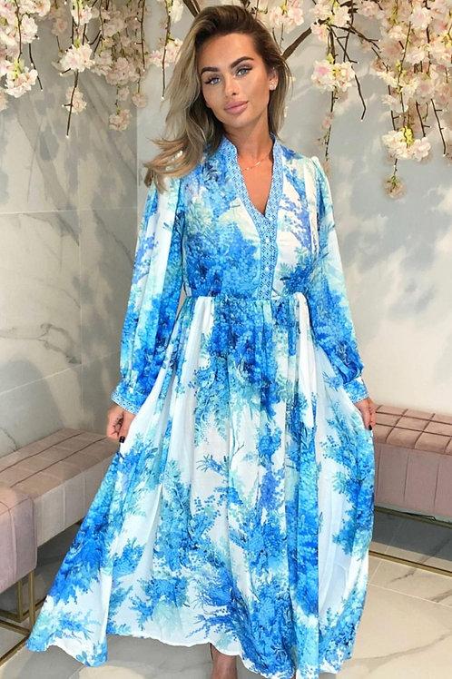 Floral & Blue Maxi Dress