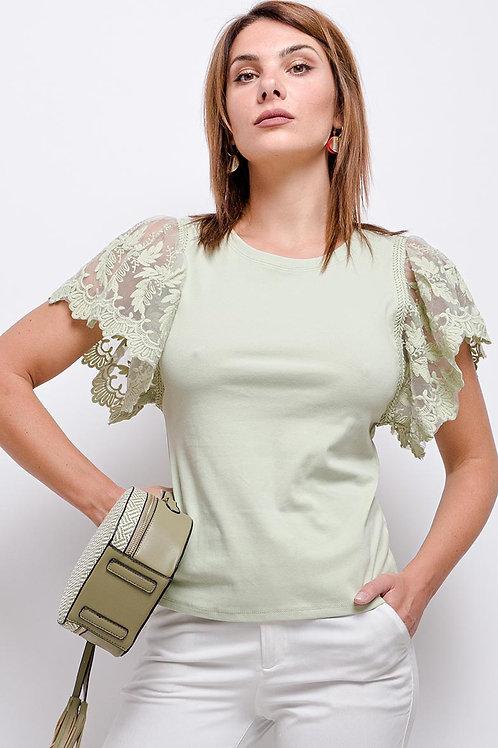T-Shirt with Lace Frill Short Sleeve | Black, Light Khaki, Camel & White