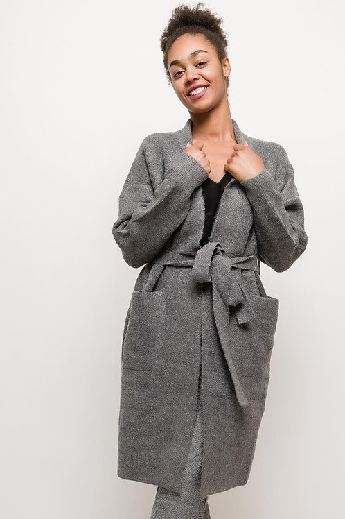 Belted Grey Cardigan | S/M or M/L