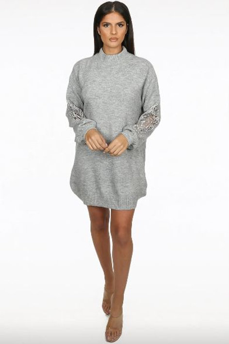 Embroidery Netted Trim Sleeve Knitted Jumper Dress | One Size