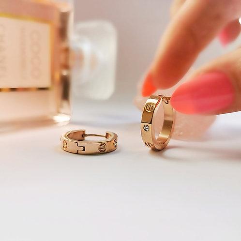 Rose Gold Plated Stainless Steel & Crystal Screw Effect Hoop Earrings