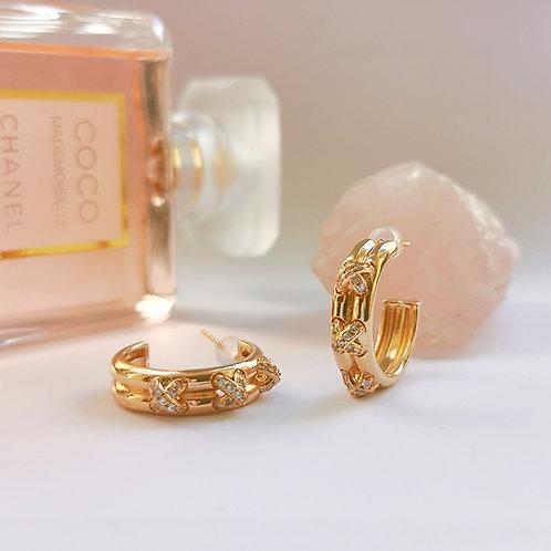 Kiss Crosses Crystal & Gold Hoop Earrings