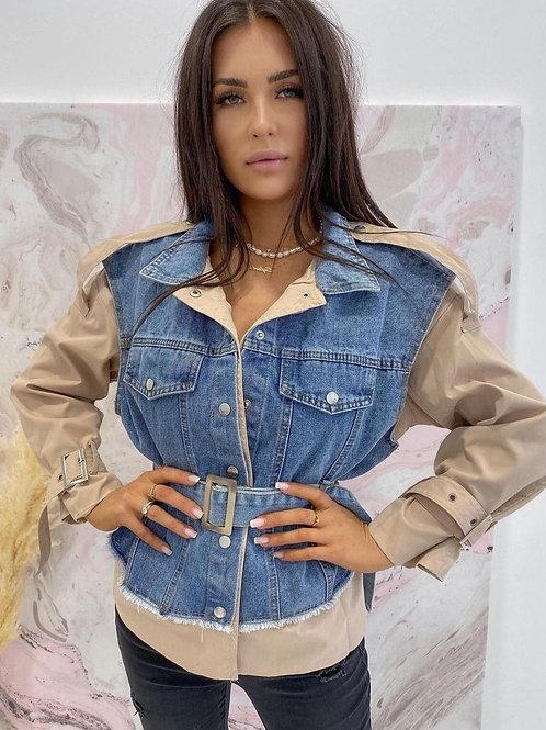 Double Layer Belted Denim/Parka Jacket