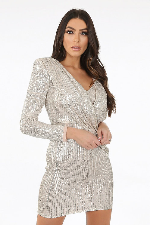 Silver Front Sequin Drape Bodycon Dress