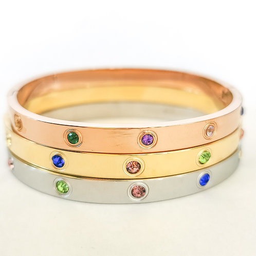 Multicolour Crystal Stainless Steel Bangle   Rose Gold, Gold or Silver